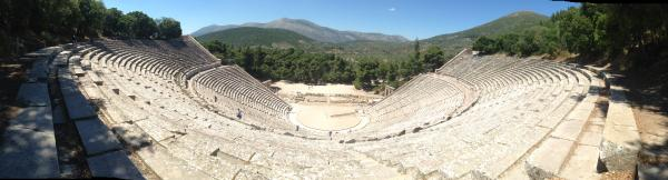 A panorama shot from the top of the Epidaurus Theater in Greece.