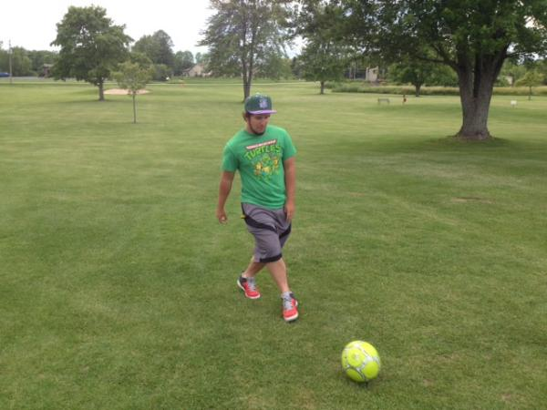 FootGolf players play the same holes as traditional golfers...