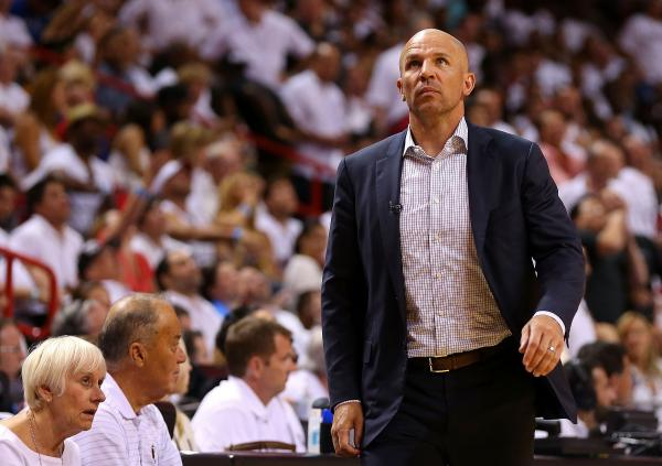 Jason Kidd, then coach of the Brooklyn Nets, looks on during Game Five of the Eastern Conference Semifinals of the 2014 NBA Playoffs against the Miami Heat.