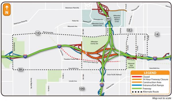 Map of the I-94 East/West full freeway closure taking place July 18-21, 2014.