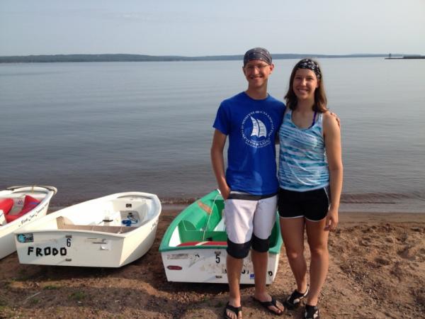 Ben and Laura Paulsen on Chequagemon Bay in Ashland.
