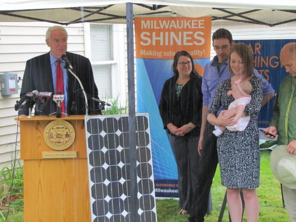 Mayor Barrett, Milwaukee Shine's Amy Heart along with the Eichman family.