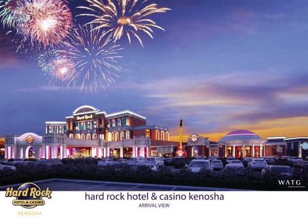 An artist's rendition of the proposed Hard Rock Cafe and casino complex in Kenosha