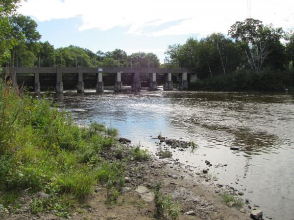 View of Estabrook Dam from upstream on the Milwaukee River.