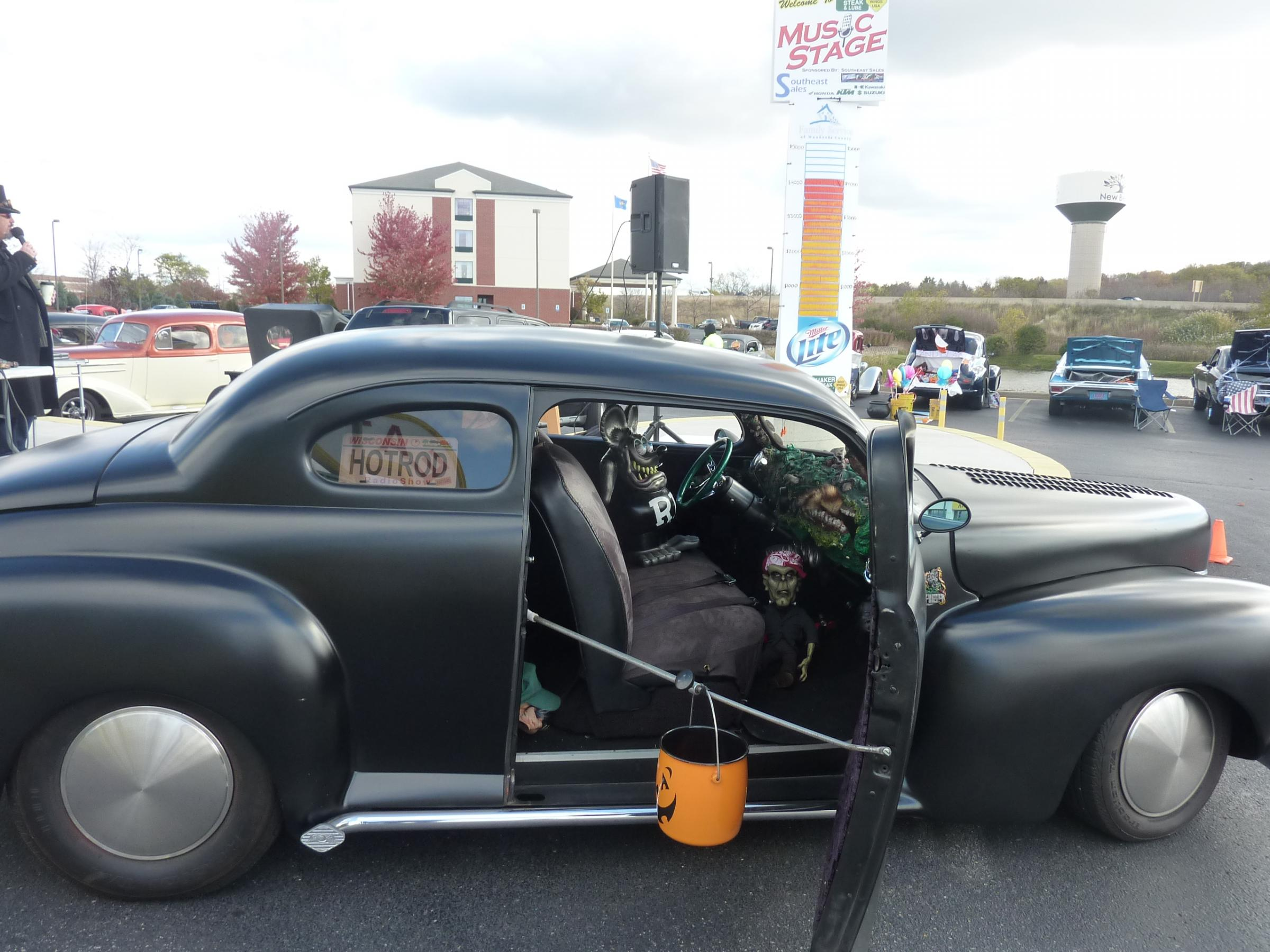 a rat rod decorated for halloween at the trunk or treat event at the car themed restaurant quaker steak and lube on saturday oct 26th in new berlin