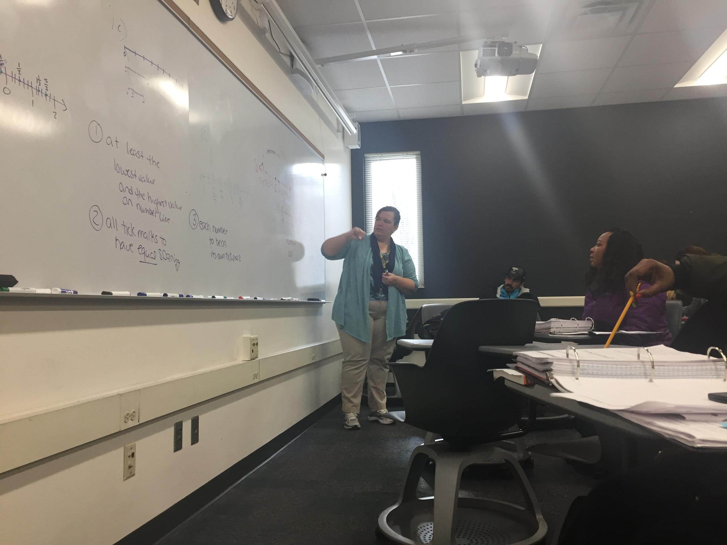 Instructor Leah Rineck Center Leads Her Math 94 Class In An Exercise About Number Lines At UW Milwaukee
