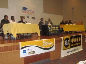 WVAS host Robb Taylor and Co-Host Victoria along with A.S.P.I.R.E. Mentors & Students.
