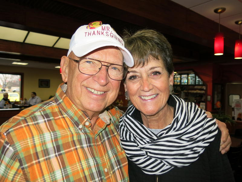 "Bob Vogelbaugh, ""Mr. Thanksgiving,"" and his right-hand woman on Thanksgiving Day, Vicki Birdsell Baker"