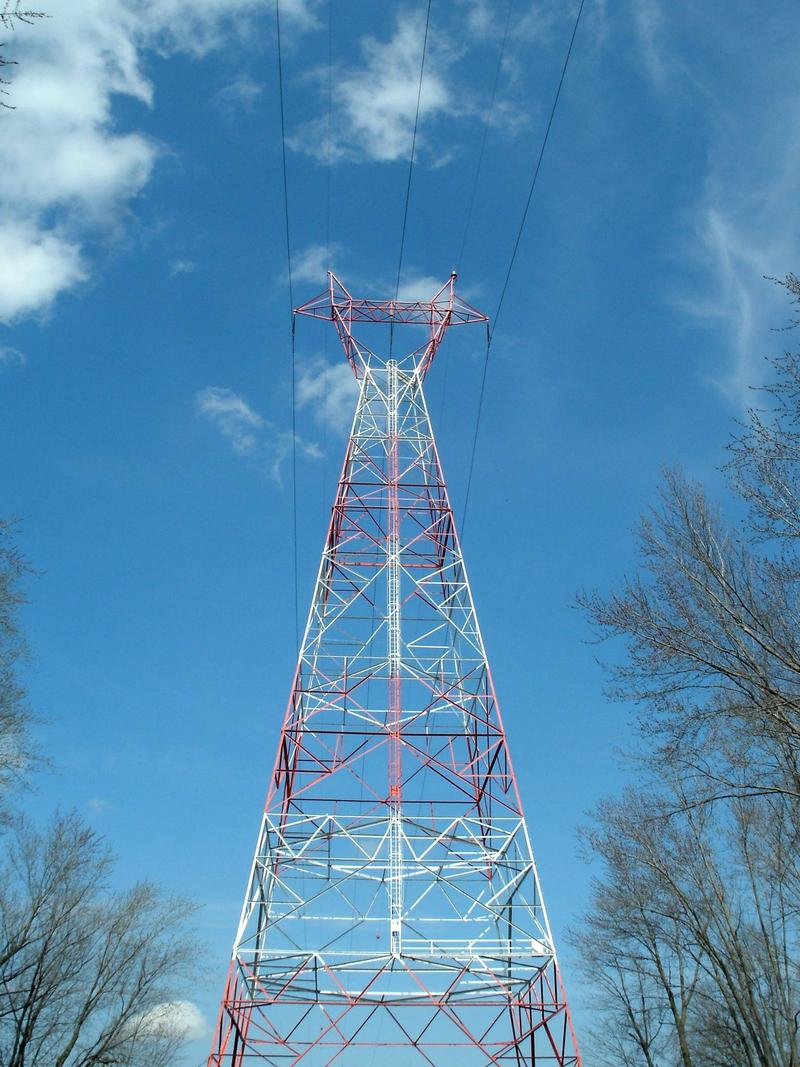 Power transmission tower and lines, Milan Bottoms near the Mississippi River in Illinois