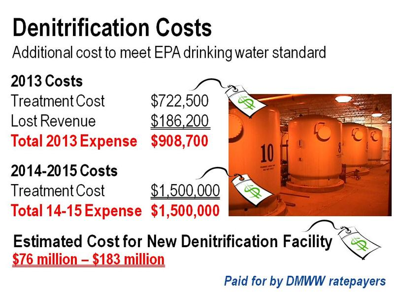 Another graphic from Stowe's presentation with details about the cost of removing nitrate from water