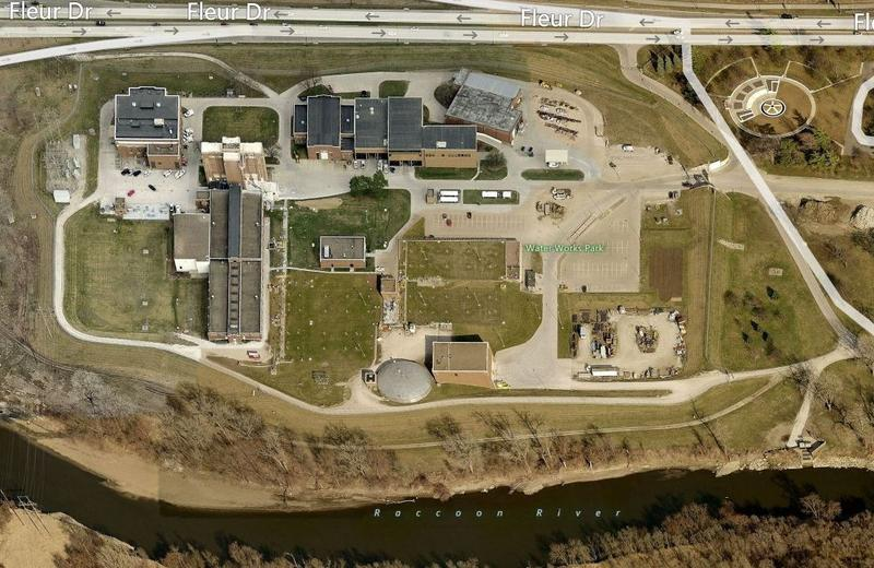aerial view of the Des Moines Water Works and Raccoon River