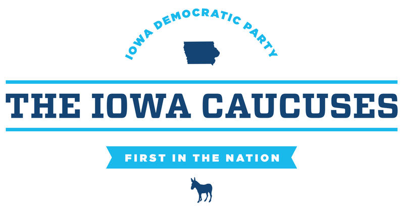 Navy and aqua Iowa caucus logo of the state's democratic party