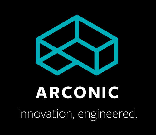 Black background with a turquoise line drawing of a box that looks 3D, with words under it, Arconic. Innovation, engineered.