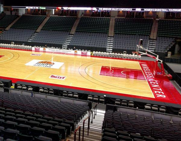 View of the basketball court and seats inside the iWireless Center