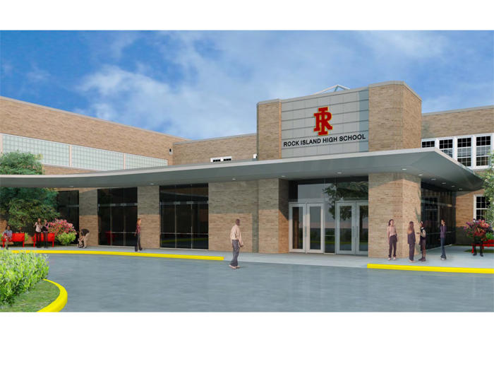 Design plan for a new entrance to Rock Island High School