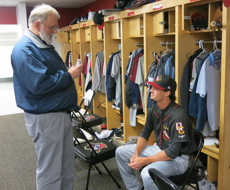 QC Times Sports Editor Don Doxie interviews outfielder Aaron Mizell