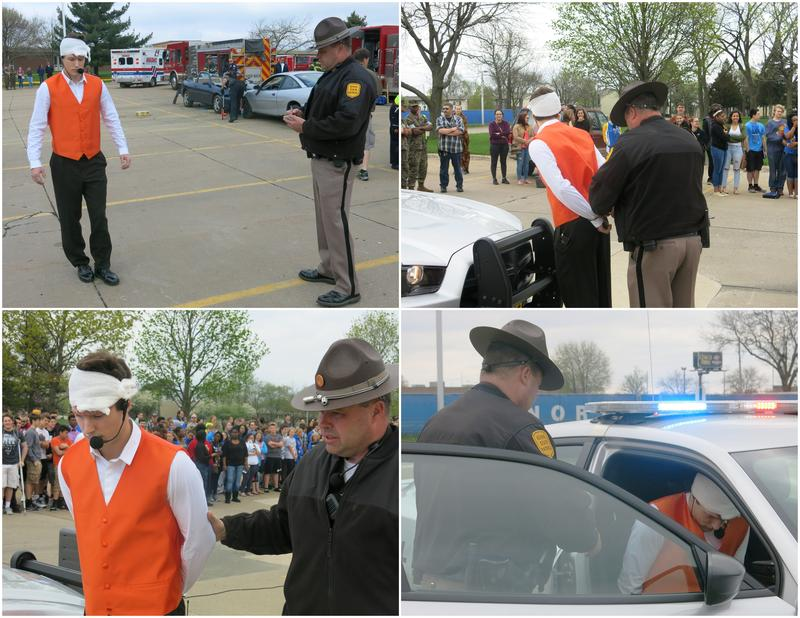 Collage of four photos: Simulation of a drunken driving arrest