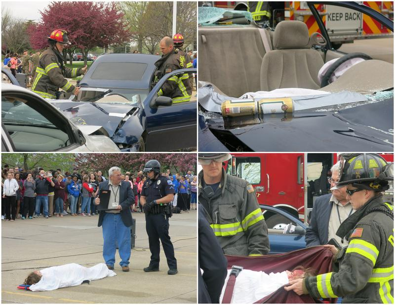 Collage of four photos: Simulation of a head-on crash, beer cans on the dash, coroner & officer with victim,  girl placed in a body bag