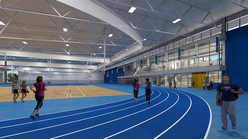 What the inside of the fieldhouse in the new center will look like.