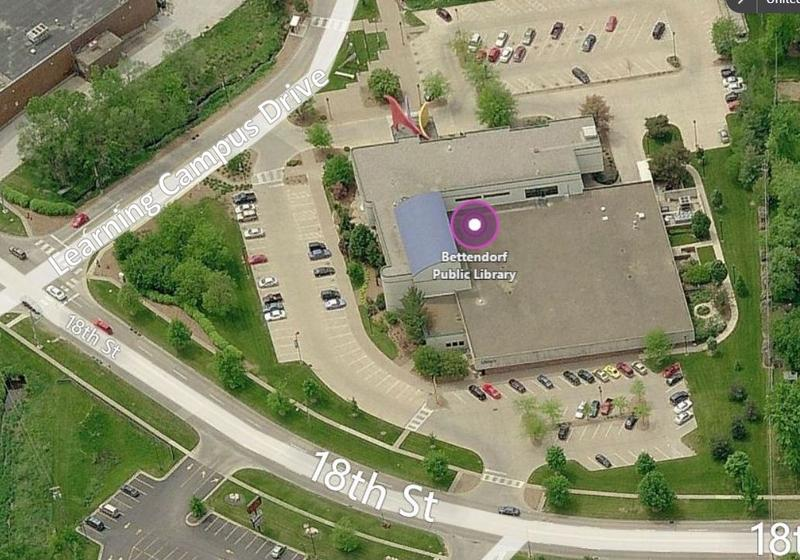 Aerial view of the east entrance of the Bettendorf library