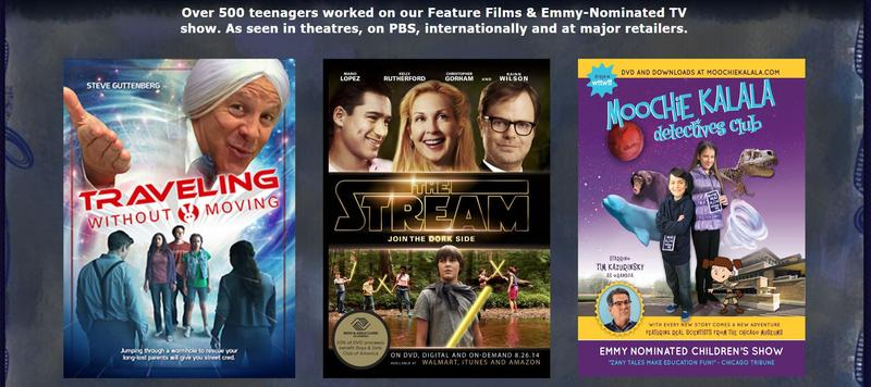 Image from Fresh Films website with 2 posters from current films, 1 from a children's TV show
