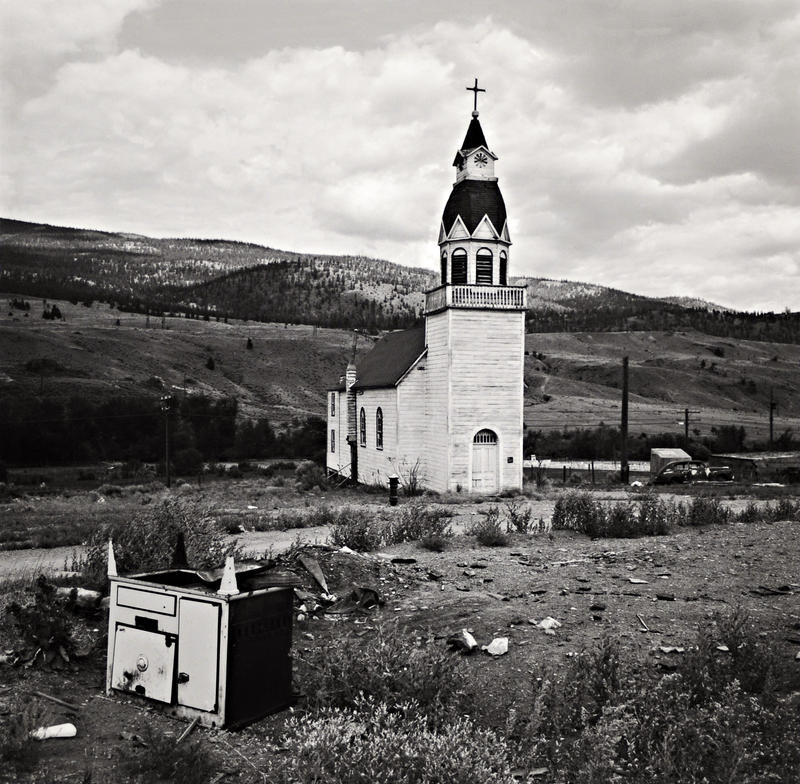 Black & white photo of a rural church, Indian Reservation, Cache Creek, British Columbia, 1968 Inkjet Print