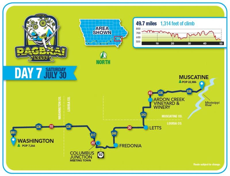 Map of RAGBRAI route from Washington, IA to Muscatine