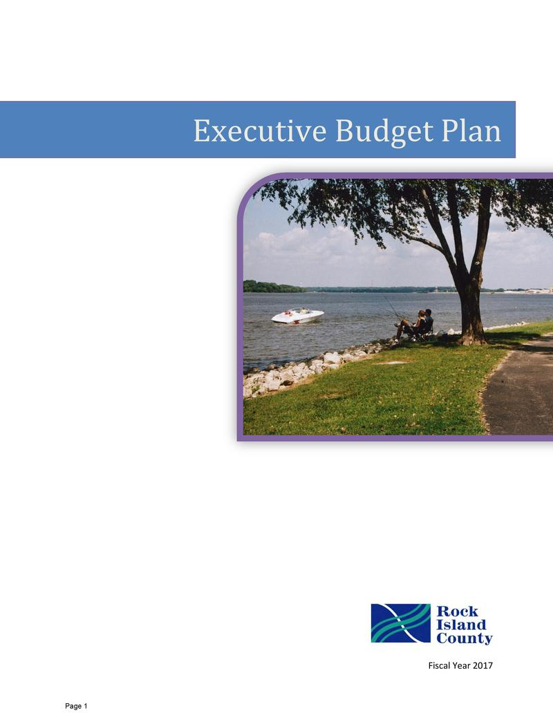 Image of the front page of the 2017 Rock Island County budget proposal