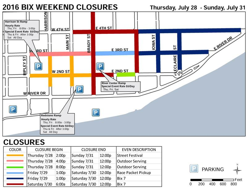Map of streets to be closed for Bix weekend