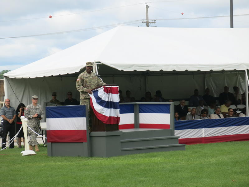 Lietenant General Stephen Twitty gives a speech after becoming the 38th First Army Commanding General at a change of command ceremony on Arsenal Island.
