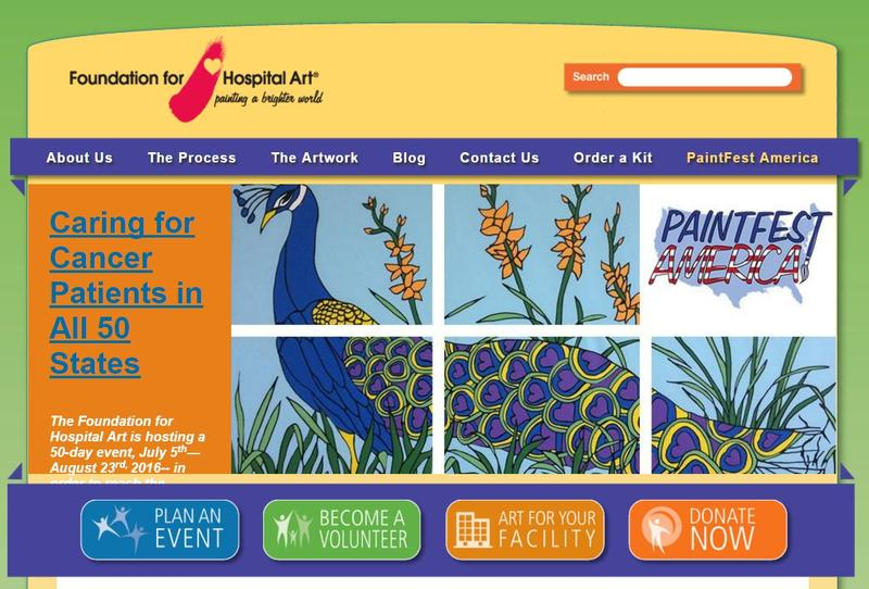 colorful screenshot from the home page of Hospital Art Foundation showing six rectangles that form a mural of a peacock and flowers
