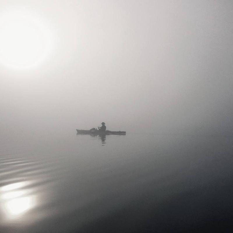 In the early morning fog on Lake Irving in Minnesota, Day 4 of his trip.