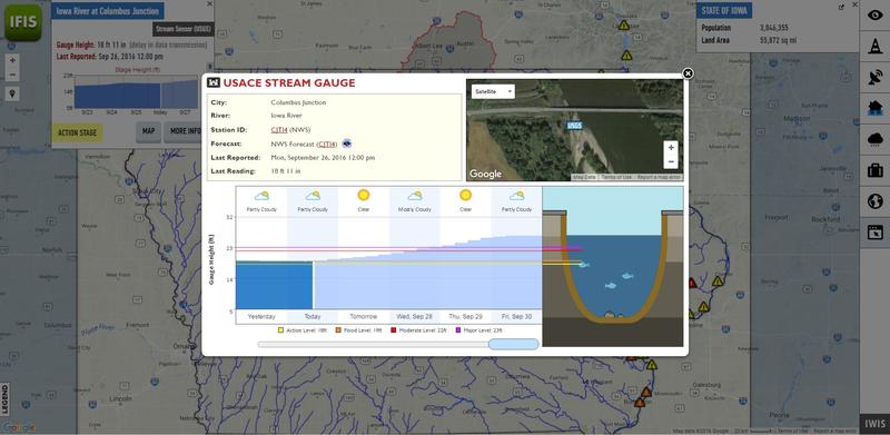 The online system is interactive. This image shows the forecast & a chart with a slider that can be moved to show how deep the water might be at certain locations at specific times.