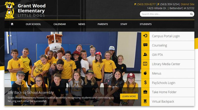 Screenshot taken from Grant Wood Elementary's website showing kids wearing yellow shirts and jeans