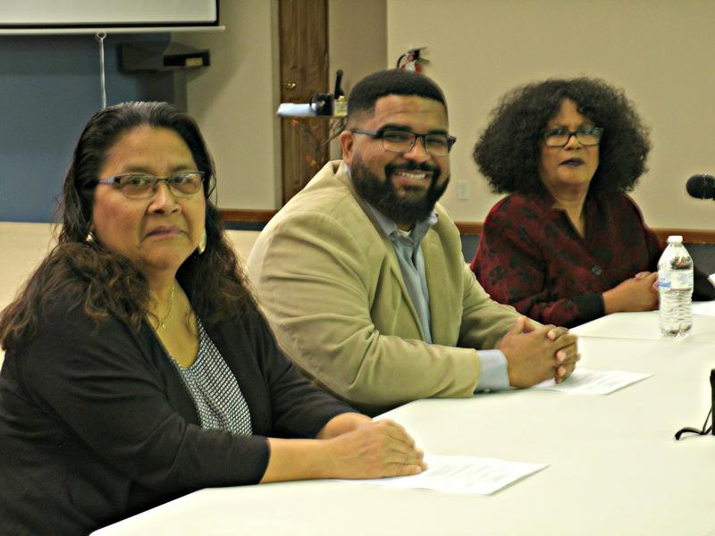 Juanita Zertuche, LULAC Council #5285, Dr. Christopher Whitt, Dir. of Augustana's Center for Inclusive Leadership and Equity & Berlinda Tyler-Jamison, Pres. of the Rock Island Co. NAACP
