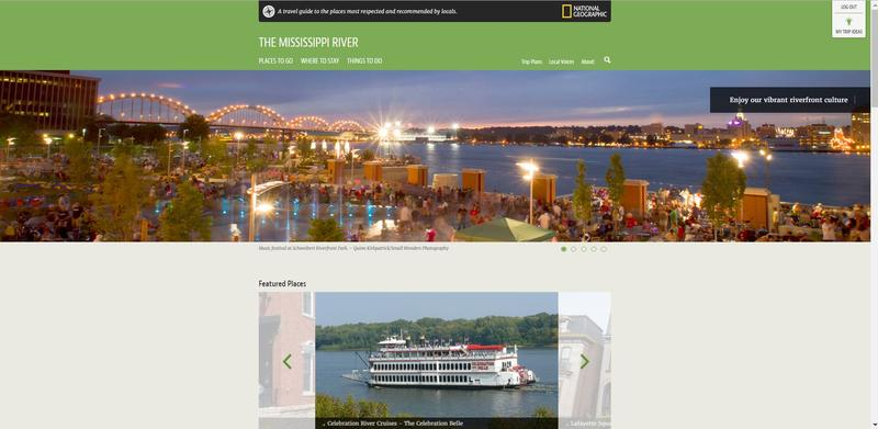 Image from the website features Rock Island's Schwiebert Park, the Centennial Bridge & the river, plus a separate photo of Celebration Belle riverboat