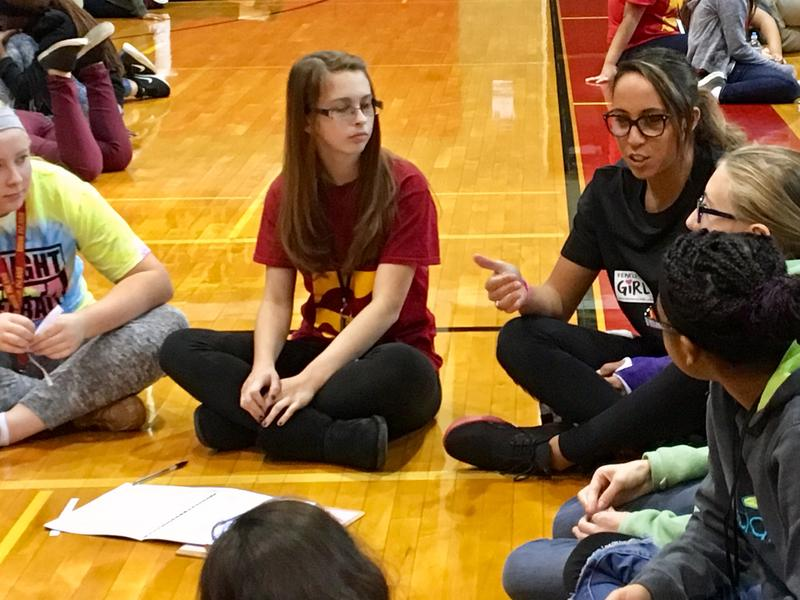 Madison Keys (right) talks with girls during a FearlesslyGiRL summit at Rock Island High School.