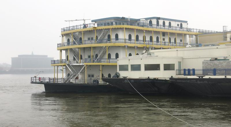 Rhythm City Riverboat Casino parked on the Missippippi River