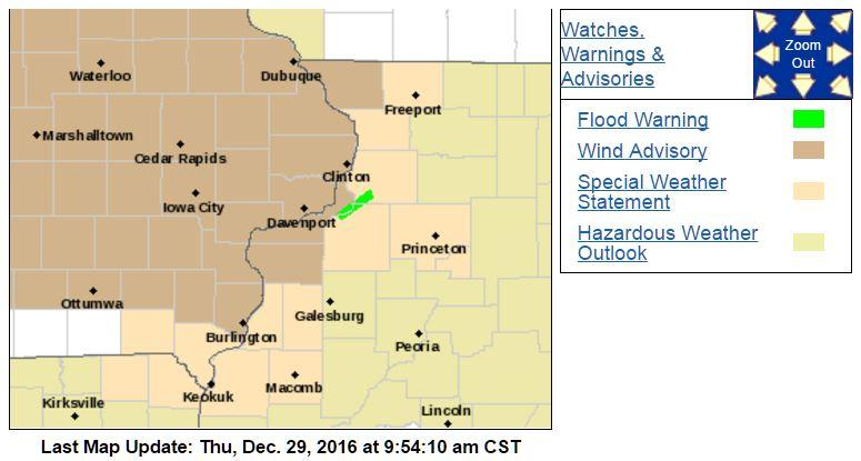 Map shows eastern Iowa plus Jo Daviess, Mercer & Rock Island counties in Illinois are under a wind advisory.