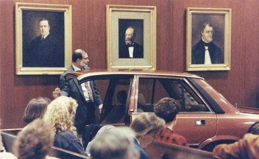 During the trial, the prosecution displayed a portion of Stanley Liggins' car in the courtroom.