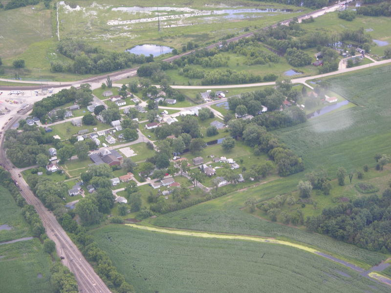 Aerial view of Barstow on July 3rd, 2014 when the Joslin gauge on the Rock River read 14.1 feet.