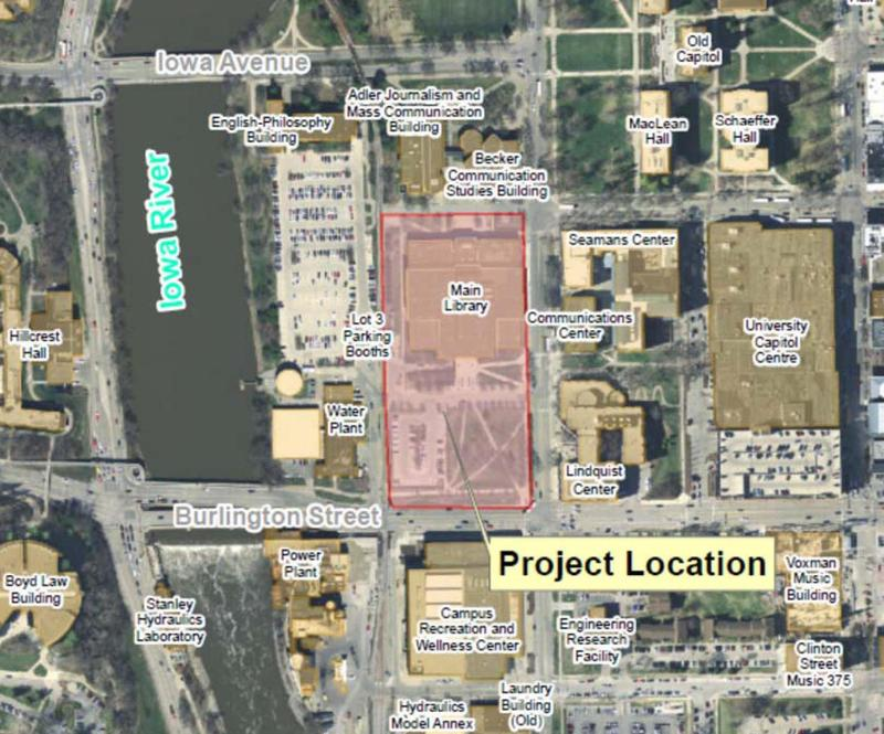 A map shows a highlighted area on part of the campus with the library on the north & the site where the new art museum will be built to the south.