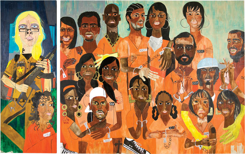 Nina Chanel Abney, Class of 2007, 2007, Diptych, acrylic on canvas.