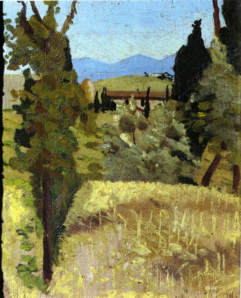 Giulia Bandini, Landscape, c. 1887-90, Oil on wood. Private collection. Source: Norma Broude, The Macchiaioli. Italian Painters of the Nineteenth Century. Yale University Press, 1987.
