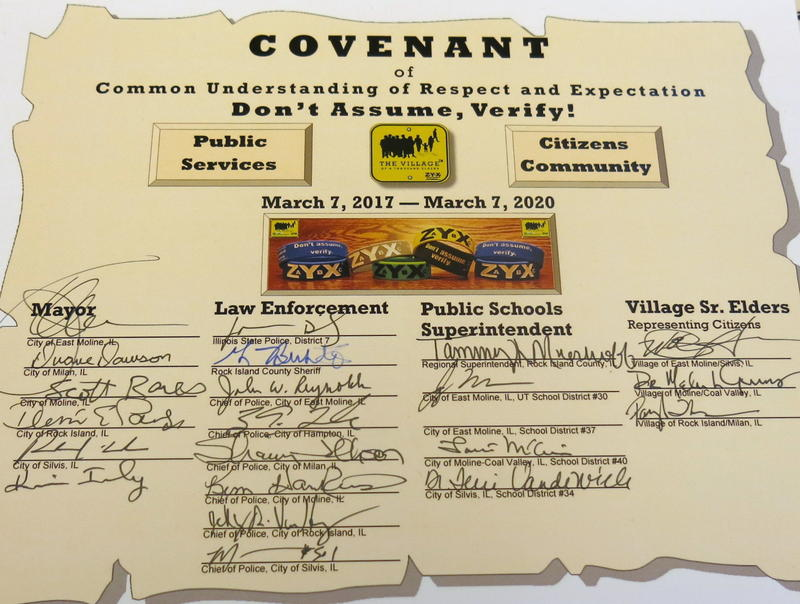 The covenant document with many signatures