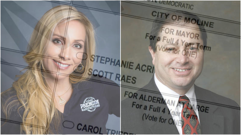 Formal photo of Acri on the left and of Raes on the right with a transparent layer of the ballot showing their names