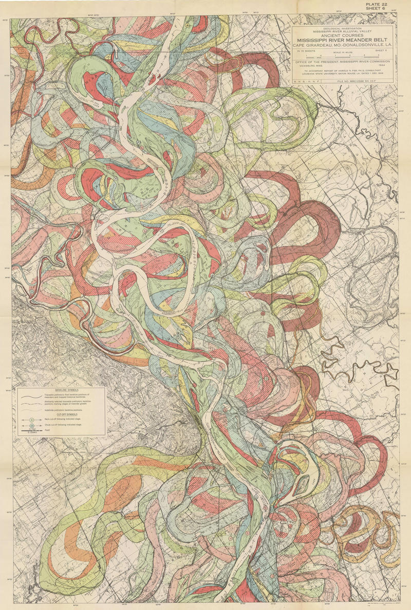 Harold Fisk's visualization of the living river, and charts some of the paths that the river took as it breached the levees in the floods of 1927.