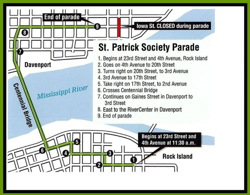 Map of the St. Patrick's Day parade route including downtown Rock Island and Davenport