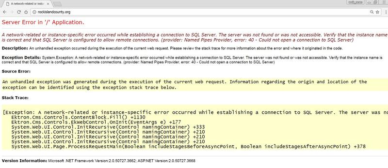 "Web page with red & black text with some highlighted in yellow says, ""Server Error in '/' Application.  A network-related or instance-specific error occurred while establishing a connection to SQL Server. The server was not found or was not accessible."""