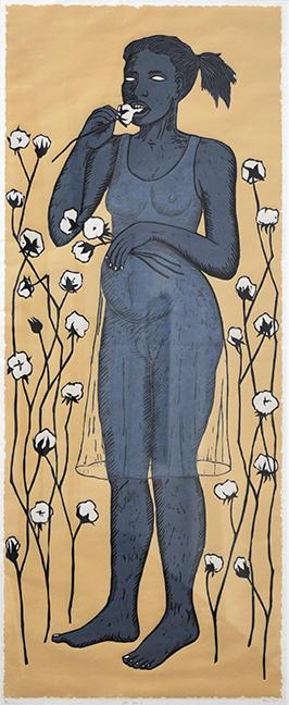Alison Saar (American), Cotton Eater II, 2014, Woodcut. Figge Art Museum, 2015.15. Copyright Alison Saar.